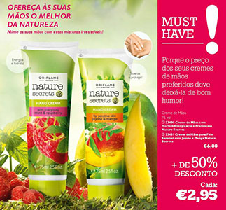Creme de mãos Pure Nature by Oriflame