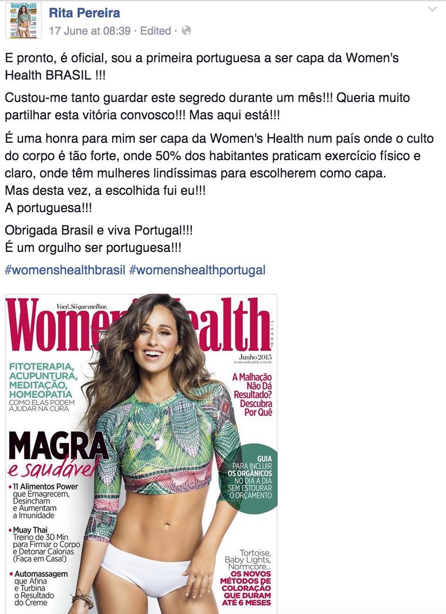 Última Hora! Rita Pereira Oriflame, embaixadora Oriflame é Capa de Revista Woman's Health BRASIL!
